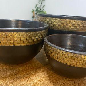 Set 3 teak wood bowls with brass detail. Heavy.